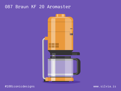 087 Braun KF 20 Aromaster brew seiffert dieterrams coffee braun 100iconicdesigns flat illustration industrialdesign product productdesign