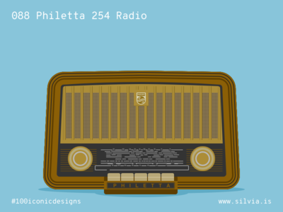 088 Philetta 254 Radio radio philetta philips 100iconicdesigns flat illustration industrialdesign product productdesign