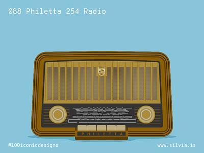 088 Philetta 254 Radio radio philetta philips 100iconicdesigns flat illustration industrialdesign product productdesign