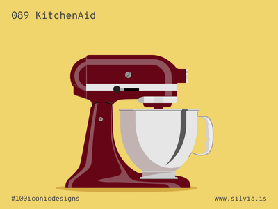 089 Kitchenaid hobart arens foodprocessor whirlpool kitchenaid 100iconicdesigns flat illustration industrialdesign product productdesign