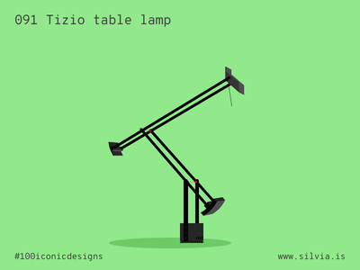 091 Tizio Table Lamp sapper artemide tizio lamp furniture 100iconicdesigns flat illustration industrialdesign product productdesign