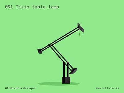 091 Tizio Table Lamp sapper artemide tizio lamp furniture 100iconicdesigns flat illustration industrialdesign product productdesign