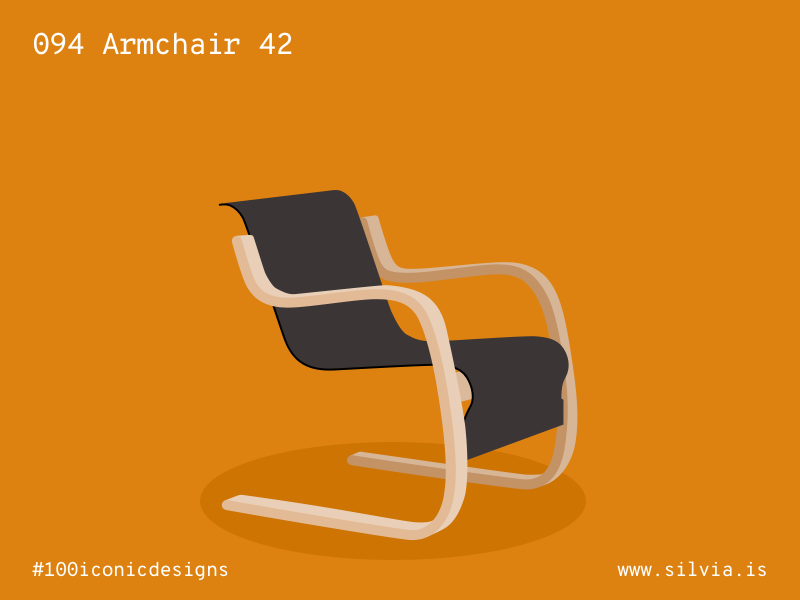 094 Armchair 42 artek chair aalto 100iconicdesigns flat illustration industrialdesign product productdesign