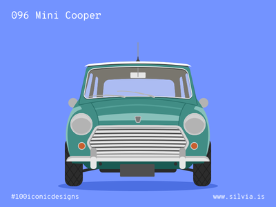 096 Mini Cooper bmc issigonis minicooper mini british car 100iconicdesigns flat illustration industrialdesign product productdesign