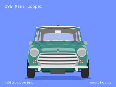 096 Mini Cooper bmc issigonis minicooper mini british car 100iconicdesigns flat illustration industrialdesign product productdesign