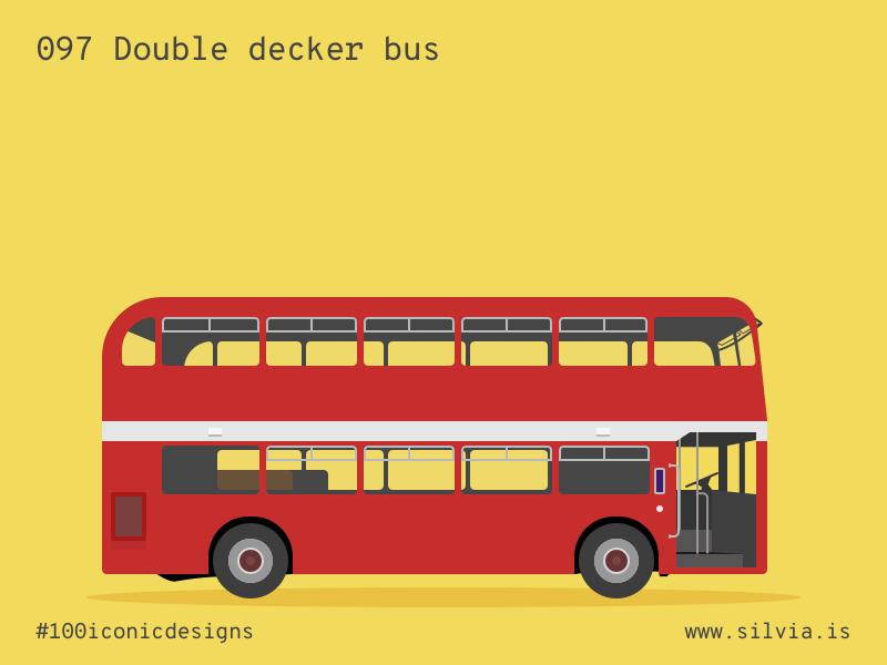 097 Double Decker Bus doubledecker british bus 100iconicdesigns flat illustration industrialdesign product productdesign