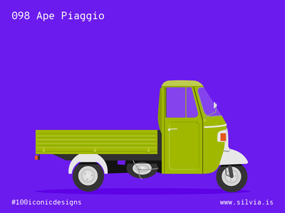 098 Ape Piaggio vespa dascanio italiansdoitbetter ape piaggio 100iconicdesigns flat illustration industrialdesign product productdesign