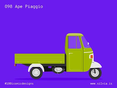098 Ape Piaggio vespa dascanio italiansdoitbetter ape piaggio 100iconicdesigns flat illustration industrialdesign product productdesign
