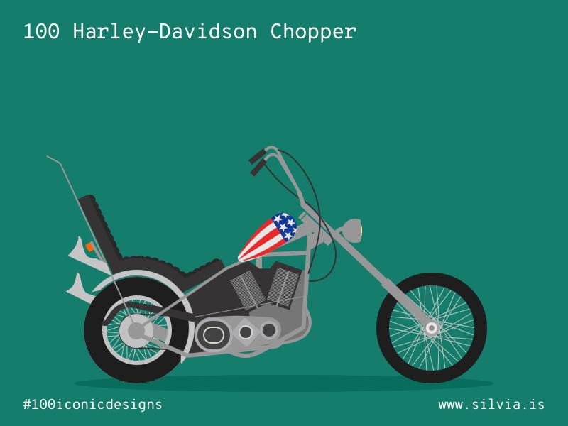 100 Harley Davidson Chopper ezsyrider chopper harleydavidson 100iconicdesigns flat illustration industrialdesign product productdesign