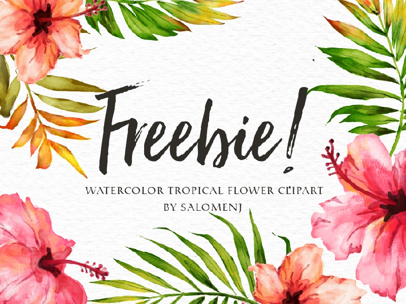 Freebie-Watercolor Tropical Flower tropical flower watercolor freebie free