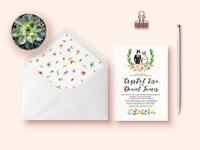 Animal character pattern invitation flower wedding animal