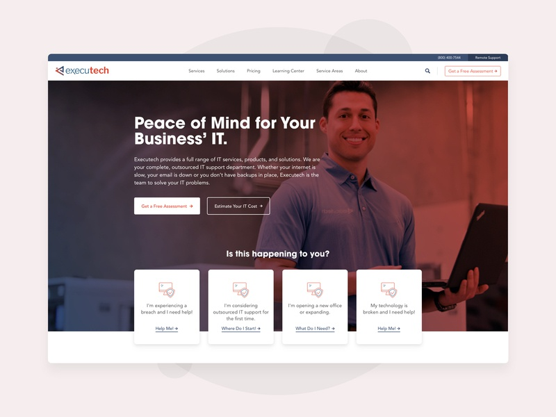 Executech - Homepage Hero hero section it services ui web design homepage technology
