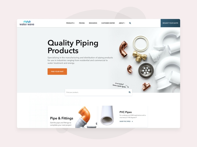 Water Wave Homepage user experience clean pipes plumbing products industrial ui homepage web design