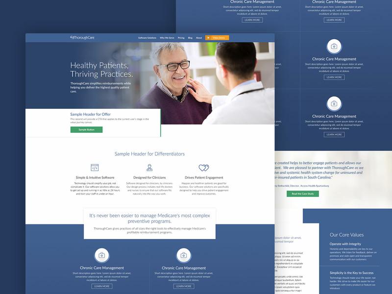 ThoroughCare Homepage blue healtcare homepage web design medical