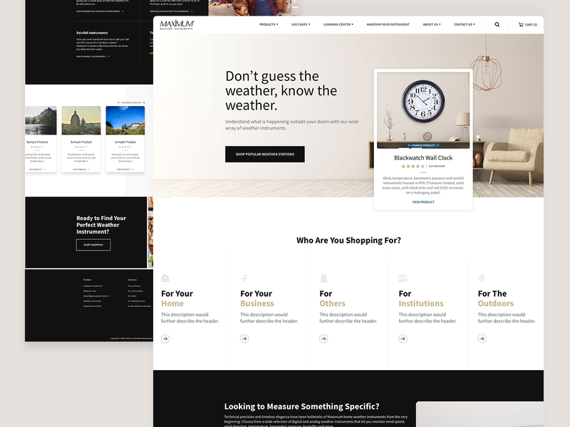 Maximum Weather Instruments Homepage web design ui redesign design ecommerce product weather homepage