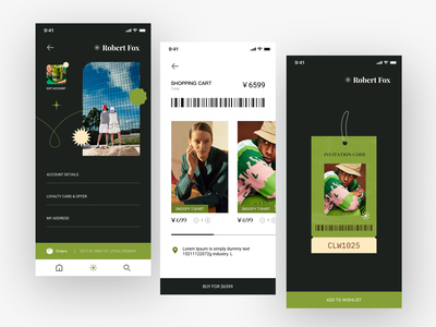 shopping app design branding ui