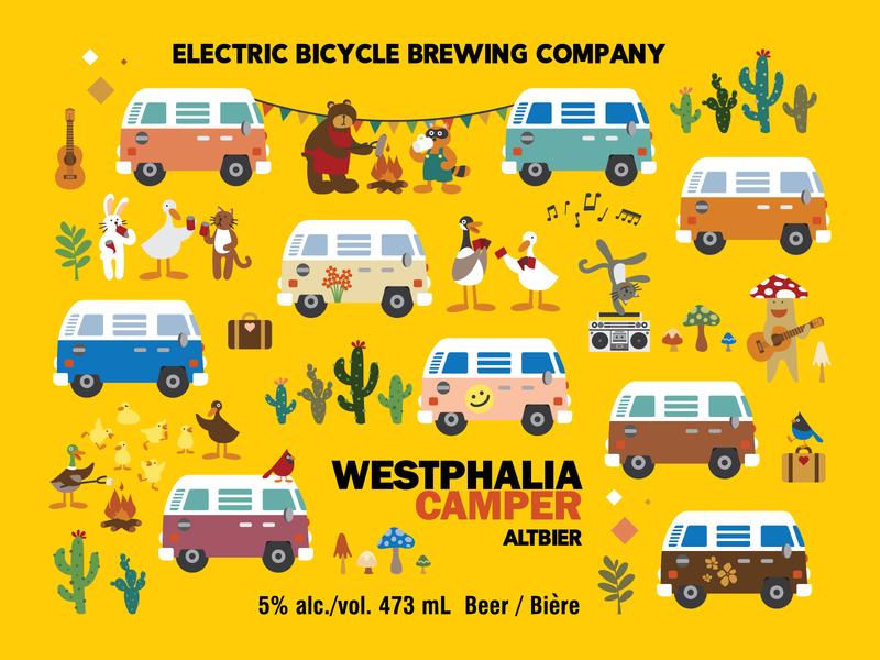 Westphalia Camper - Beer Label Design westfalia animals cactus cute illustration cute art vector flat childrens illustration beer art beer label design illustration