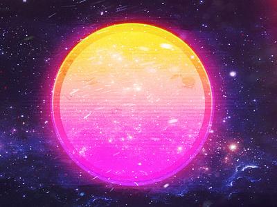 Space sun nebula retro creative nature art vibe fyp new illustration design nebula retrowave sun space