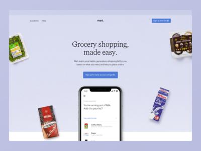 Mart Homepage Version A live mobile desktop website automated list shopping list grocery mart