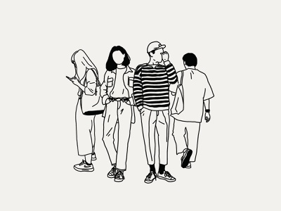 Strangers In Tokyo fashion tokyo people people illustration monoline illustration