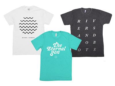 Three T-Shirts teal simple band minimal t-shirts merch