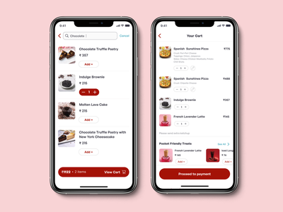 Cart screen, Search screen-Pizza delivery app cart page checkout page buttons navigation app design ios search cart ui screen uxdesign uidesign ui kit ui designs ux  ui ui ux web ux ux design agency uiux uiuxdesigner