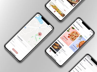 Location screen, Home screen-Pizza delivery app navigation bar tab bar card design cards ui carousel address search bar ui ux web homepage design home screen screen location app ui design button design app design ux  ui uxdesign