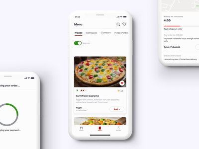 Menu Screen-Pizza delivery app search bar card design tab bar user experience ux ecommerce app clean ui ux food app delivery app card ui design switch button navigation bar product design app design uiux ui user interface