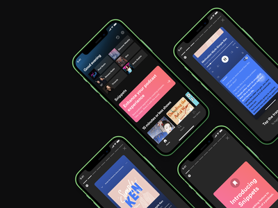 Home Screen-New feature for podcasts spotify banner design icon design stepper feature page user experience clean ui ux dark ui dark mode user interface card ui design music player music app tab bar navigation bar uiux productdesign button design uxdesign app design