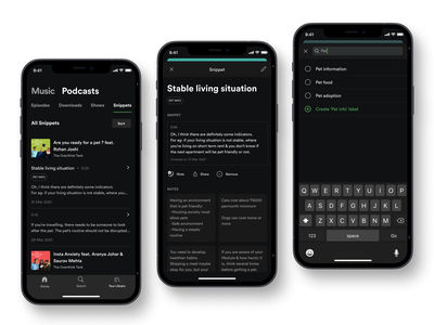 Content details screen-New feature for Spotify podcast icon designs search bar divider icon design music player card ui design dark mode app designers music app ui tab bar modal window user experience ux spotify navigation bar clean ui ux user interface uiux button design uxdesign app design