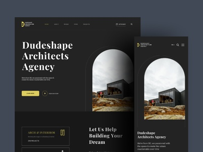 Architecture Interior Landing Page dark theme real estate app design ux ui design interactive interaction interior architecture typography trendy design startup product design dribbble best shot best shot agency website agency landing page agency branding 2021 trend