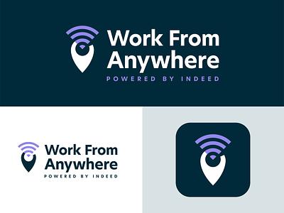 Work From Anywhere logo & app icon remote work icon wordmark logomark app icon logos logo design logo identity branding design branding
