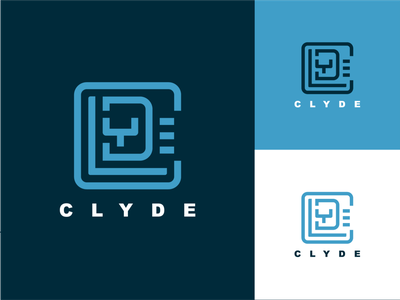 Clyde Brand Mark letterforms type foil shapes flat graphic design wordmark logomark stamp brand identity typography logos logo brand mark identity branding