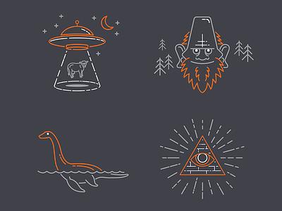 Myths and Legends Line Art icons line art illustrations facebook spaceship cryptozoology myths loch ness illuminati sasquatch bigfoot aliens