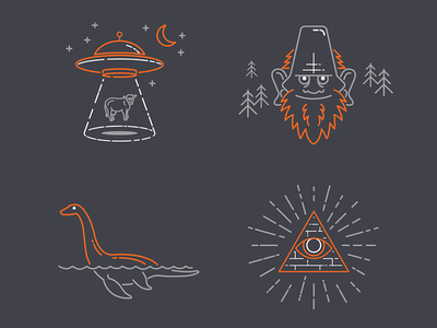 Myths and Legends Line Art icons line art illustrations facebook spaceship cryptozoology myths loch ness illuminati sasquatch bigfoot aliens