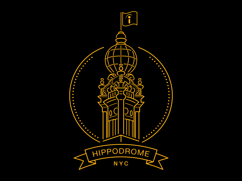 Hippodrome office thin line new york city monoline lines line art illustration architecture buildings indeed