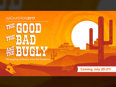 The Good, The Bad, and the Bugly hack sand skull cactus cowboys orange west desert flat spaghetti western hackathon