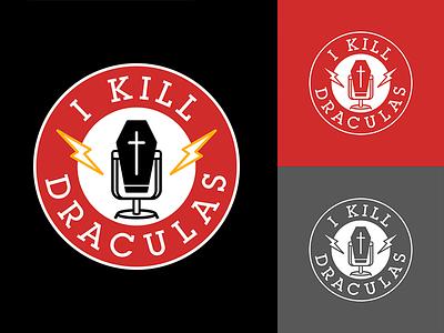 I Kill Draculas podcast logo death dracula logos patch coffin comedy horror microphone branding draculas podcast logo