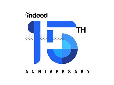 15th Anniversary graphic modern logotype indeed birthday celebration branding 15th 15 anniversary logo