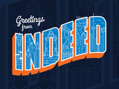 Greetings from Indeed intern shirt design graphic design buildings cities illustration vacation tshirt t-shirt shirt intern indeed postcard greetings