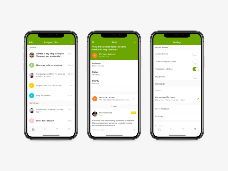 Zendesk Support for iOS pattern library design system settings list interface design ticketing apple iphone x ui portfolio minimal