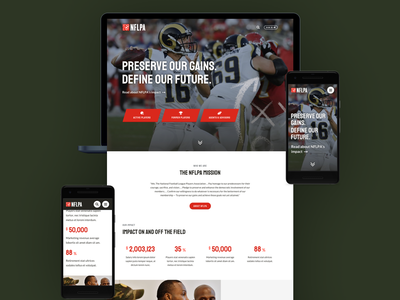 NFLPA Home Page Concept concept pitch spec work limina nflpa football sports imagery red clean ui design devices home page homepage mobile desktop