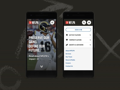 NFLPA Mobile Concept clean ux ui design menu homepage mobile sports football