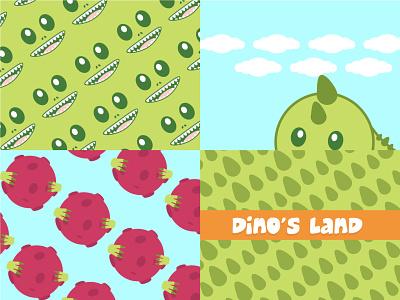Dino's Land logo design logodesign drawing kids graphic design animation vector illustration logo design branding design branding brand identity brand design brand
