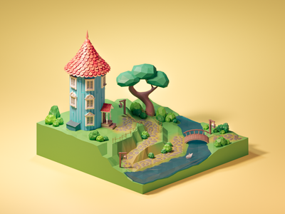 Moomin house house moomins illustration isometric diorama low poly blender blender3d lowpoly