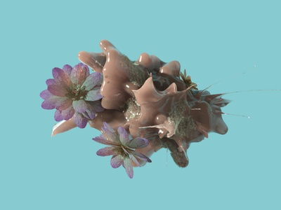 Cosmic flowers asteroid design cinema4d redshift corona render 3ds max 3d modeling c4d cg flowers motion graphics 3d animation