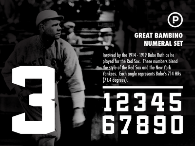 Bambino Numeral Set baseball design typography sports branding yankees redsox