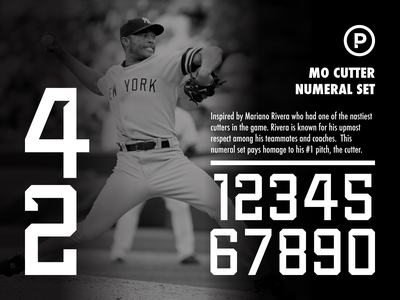 Mo Cutter Numeral Set branding design vector logo typography baseball sport number sports font sports yankees mariano rivera