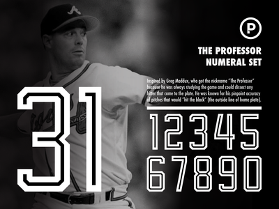 The Professor Numeral Set vector design branding sports sports numbers numbers numeral set baseball font sports font sport baseball braves