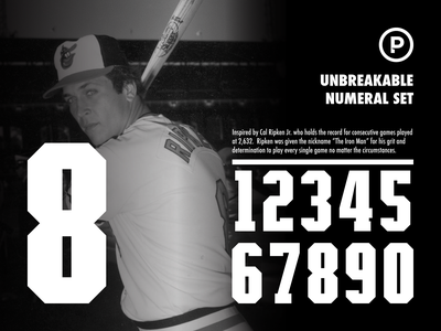 Unbreakable Numeral Set sports design athletic font athletic numeral set sports numbers sports font baseball design sports typography